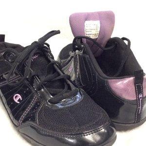 Champion shiny black/purple leather upper sneakers